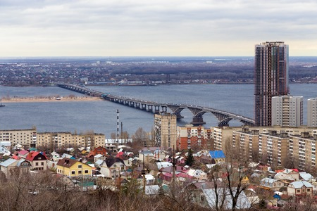 the volga river: Road bridge over river Volga, which connects city Saratov and Engels Stock Photo
