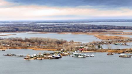 the volga river: City of Saratov  View of island Zelenyy on Volga River  Russia
