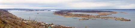 the volga river: City of Saratov. Panorama of island Zelenyy on Volga River. Russia