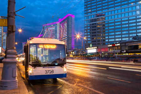 trackless: MOSCOW, RUSSIA - AUGUST 23, 2014: Trolleybus on New Arbat Street in evening. New Arbat is located in the central part of Moscow