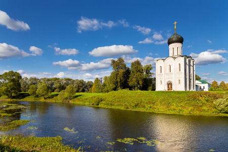 nerl river: Church of the Intercession on the Nerl. Built in 12th century. Bogolyubovo, Vladimir region, Golden Ring of  Russia