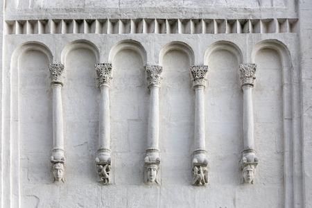 intercession: Decorations on walls of Church Intercession of Holy Virgin on Nerl River.  Built in 12th century. Bogolyubovo, Vladimir region, Golden Ring of Russia