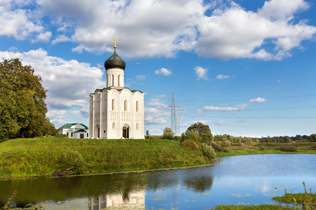 nerl: Church of the Intercession on the Nerl. Built in 12th century. Bogolyubovo, Vladimir region, Golden Ring of Russia Stock Photo