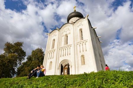 intercession: BOGOLUBOVO, RUSSIA - SEPTEMBER 7, 2014: Church of the Intercession on the Nerl. Built in 12th century. Bogolyubovo, Vladimir region, Golden Ring of Russia
