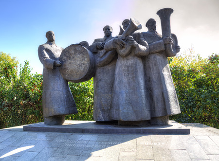 the quartet: LIPETSK, RUSSIA - SEPTEMBER 18, 2014: Brass Quartet. Monument. First Lipetsk County Council is dedicated to