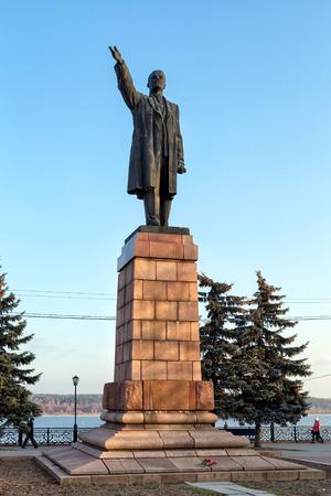 KINESHMA, RUSSIA - NOVEMBER 19, 2014: Monument to Vladimir Lenin in Kineshma. Established in April 1958