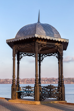 bower: Pavilion on embankment of the river Volga in Kineshma. Russia