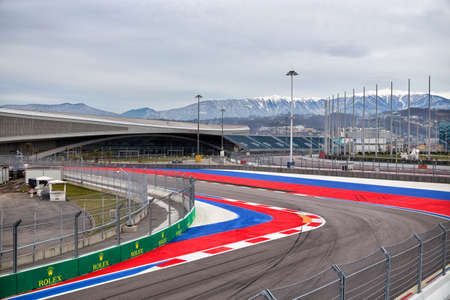 speedway park: Sochi, Russia - February 5, 2016: Sochi Olympic Park. Fragment race track of Formula One Editorial
