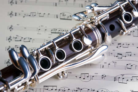 woodwind: Wooden wind musical instrument clarinet. Close-up.