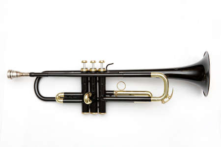fanfare: black trumpet on white background Stock Photo