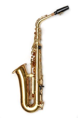 wind instrument: Saxophone isolated over white