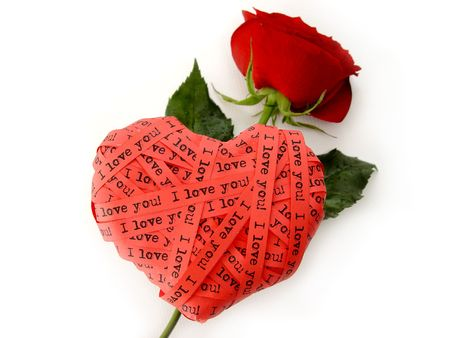 contingency: Valentines day card - red heart end roses - I love you!