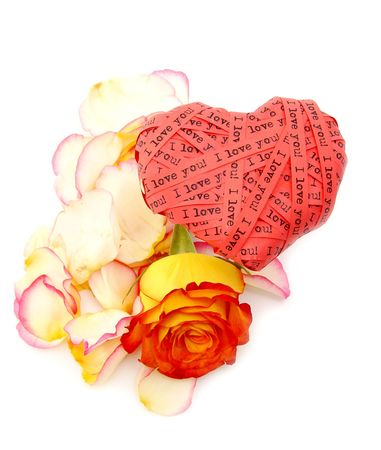 Valentines day card - red heart end roses - Ilove you!