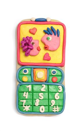 Couple on screen of the mobile telephone from plasticine photo