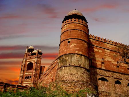 fatehpur: Deserted Mughal city at Fatehpur Sikri, India                              Stock Photo