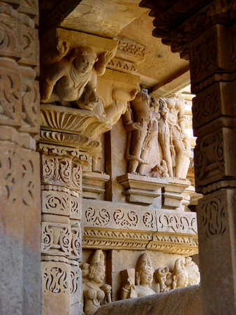 sutra: Khajuraho temple. The Kama Sutra Temples. India.                                Stock Photo