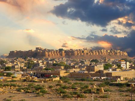 India. Rajasthan.Sunrise in Jaisalmer city. photo