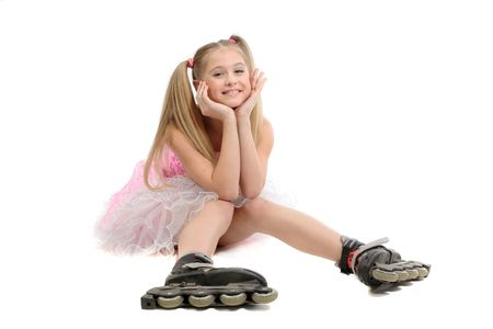 rollerskates: pretty young sweet girl  with roller skates