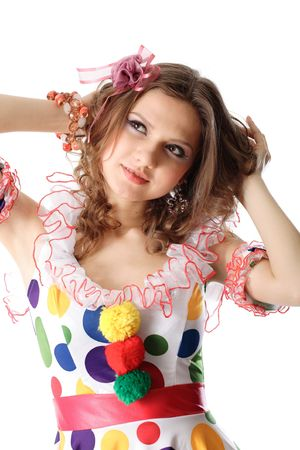 Funny beautiful girl in screaming gown.  photo