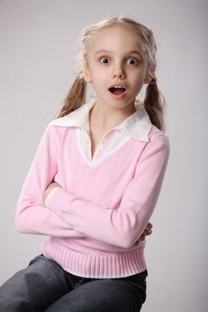 pigtail: Surprised girl Stock Photo