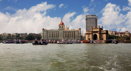 landmark of India, Mumbai, India gate end the Victorian style on coast of the Bombay gulf. India. Bombay photo