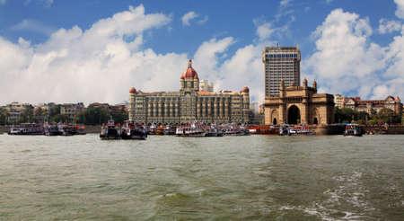 landmark of India, Mumbai, India gate end the Victorian style on coast of the Bombay gulf. India. Bombay