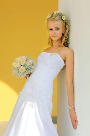 wind blown hair: Beautiful smiling caucasian bride