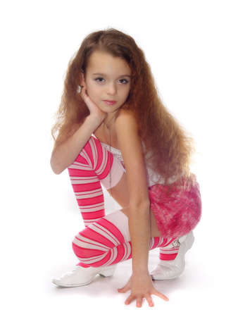 expresses: The Small girl in pink cloth. Expresses the photo a model. On white background