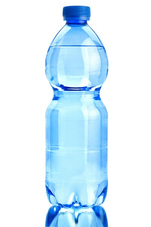 polycarbonate: Plastic transparent  bottle closeup isolated on white