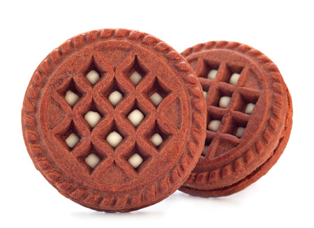 opvulmateriaal: Brown cookie with sweet stuffing Stockfoto