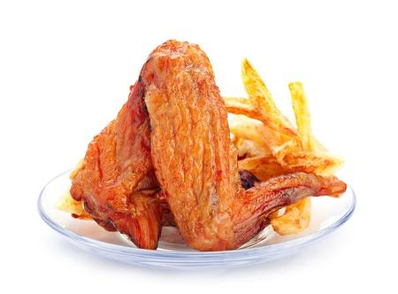 Smokerd chicken wing with potato photo