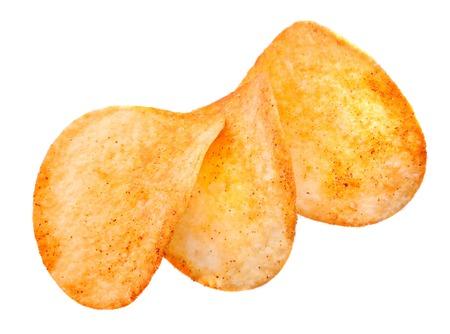 prepared potato: Prepared potato chips snack on white