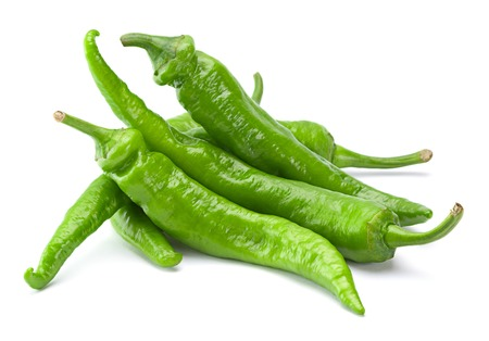 green pepper: Green fresh chili pepper isolated on white
