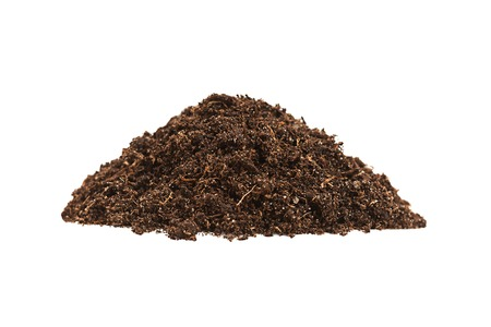 earth handful: Ground heap closeup isolated on white background