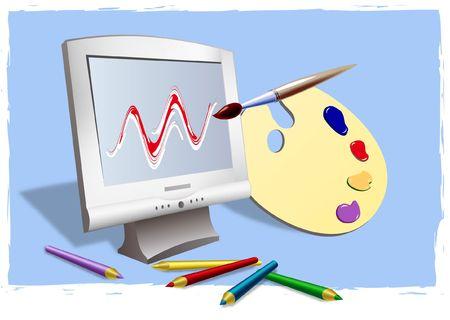 Digital illustration de num�risation. D�grad� maillage.