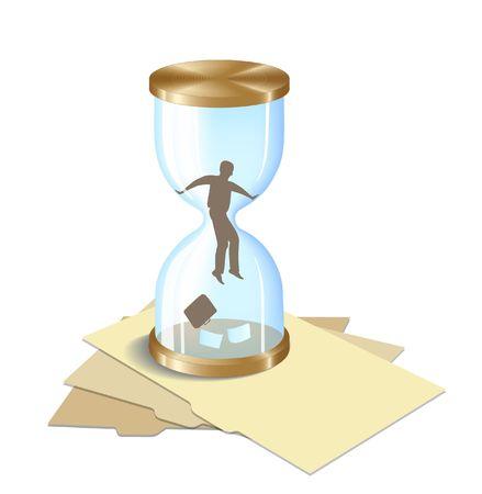 Man in Hourglass. All�gorie. Digital illustration � partir de z�ro. Gradient Mesh. D�grad�s.  Banque d'images