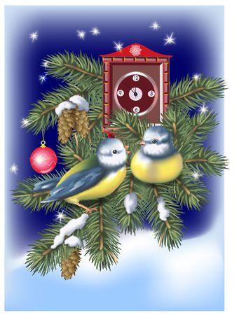Deux oiseaux d'attente pour le Nouvel An � venir. Digital illustration.