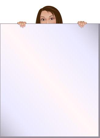 Digital illustration � partir de z�ro: Lady d�tient un grand arri�re-plan pour toutes les occasions. Gradient de maille utilis�e. Banque d'images