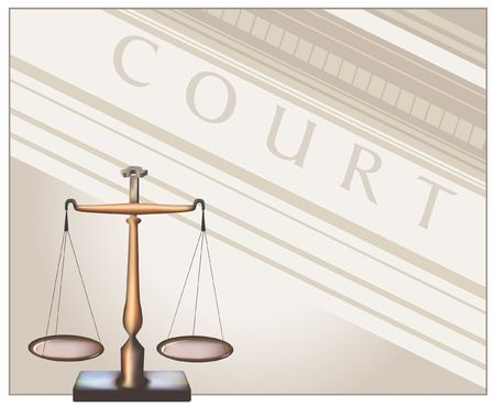 Balance de la justice. Digital illustration de num�risation. D�grad� maillage.