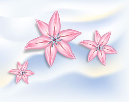 contain: Pink lilies on light background. Digital illustration. Gradients, Gradien Mesh used. Contain clipping paths