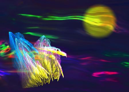eagle flying: Eagle flying in the dark. generated image. Filters. Plugins.