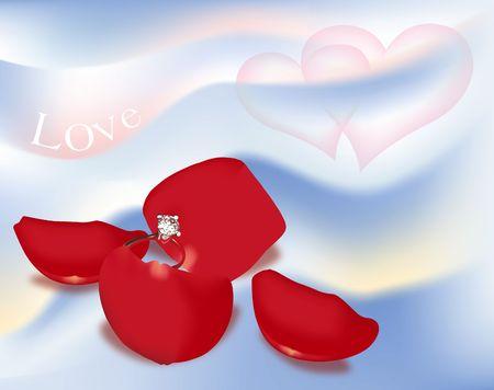 Engagement Ring on Rose Petals. Digital Illustration. Gradient Mesh. Stock Photo