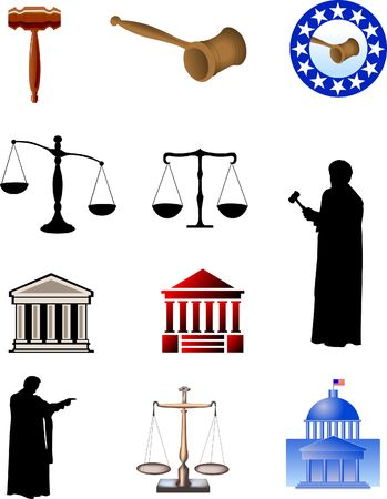 Symbols of justice. Digital illustration. Stock Photo