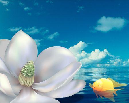 Magnolia & Gold Fish. Digital illustration photo plac� sur l'eau.