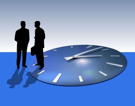 Deux hommes d'affaires parlent. Time flies away.