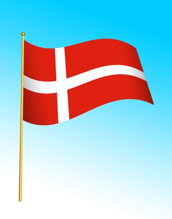danish flag: Digital illustration. Gradients, warp.