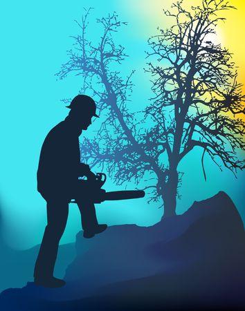 tree works: Digital illustration. Gradient mesh. Stock Photo