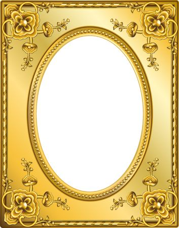 Golden frame with clipping paths. Digital illustration from scratch. Blends, gradient mesh.