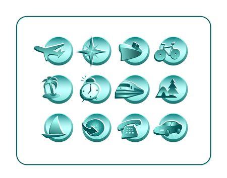 Voyage ic�nes. Digital illustration � partir de z�ro. Des chemins de d�tourage inclus.