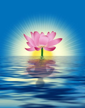 Lotus reflects persons figure in water. Digital illustration with photoshop elements. Stock Photo